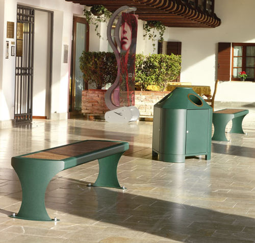 public bench / contemporary / iroko / stainless steel