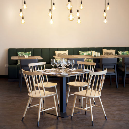 Scandinavian design chair / with armrests / beech / contract