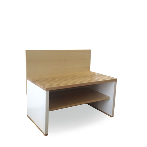 contemporary bench / oak / with backrest / commercial