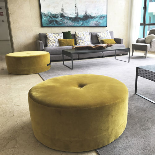 contemporary pouf / fabric / contract / gray