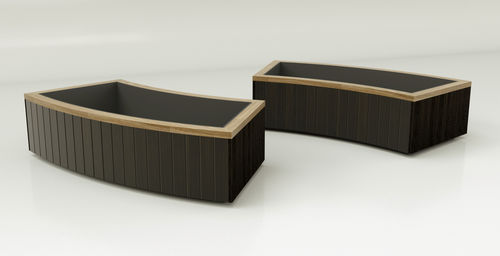 hardwood planter / curved / contemporary / for public spaces