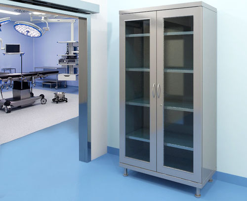 modular wardrobe / contemporary / steel / with swing doors