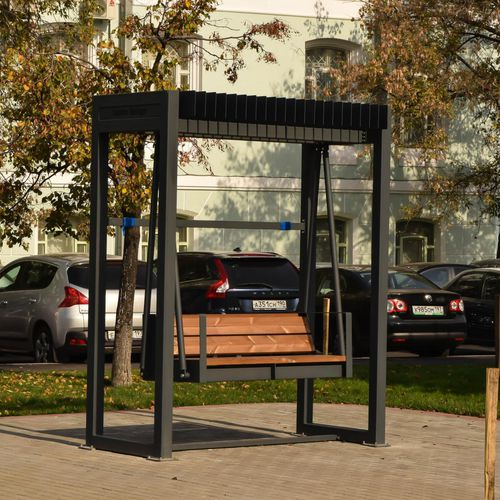 wooden swing seat / powder-coated steel / for public spaces