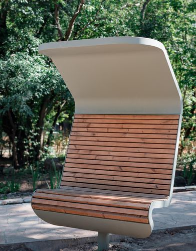 public bench / contemporary / powder-coated steel / wooden