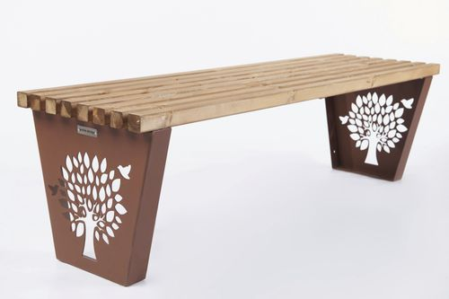 public bench / contemporary / powder-coated steel