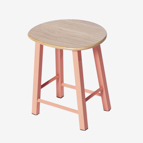 chrome steel task stool / wooden / with footrest / red