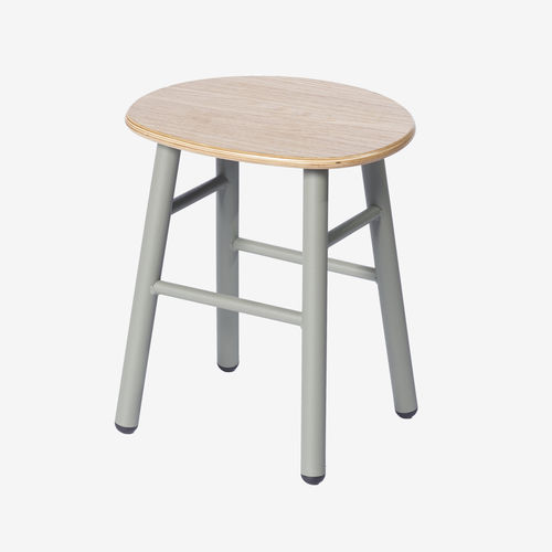 chrome steel task stool / wooden / red / yellow