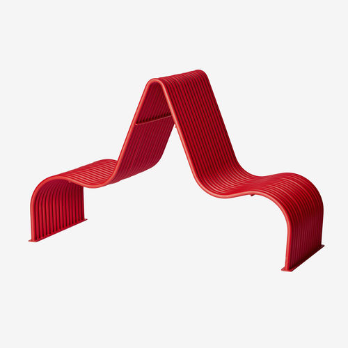 contemporary sun lounger / powder-coated steel / for public spaces