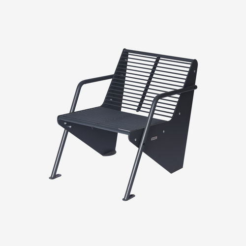 contemporary armchair / wooden / powder-coated steel / with armrests