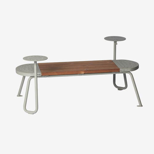 public bench / contemporary / powder-coated steel / for hotels