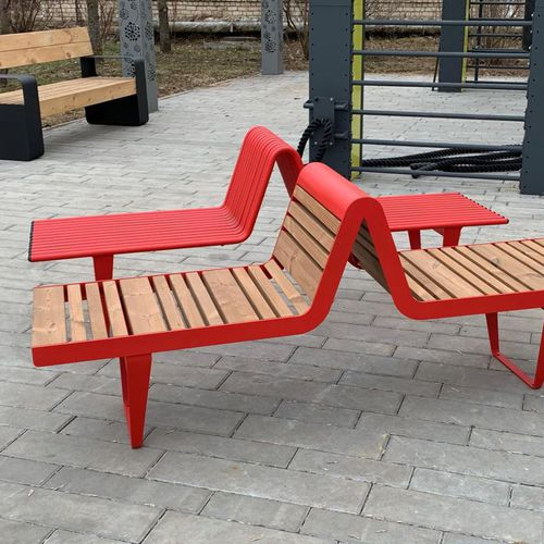 public bench / contemporary / galvanized steel / with backrest