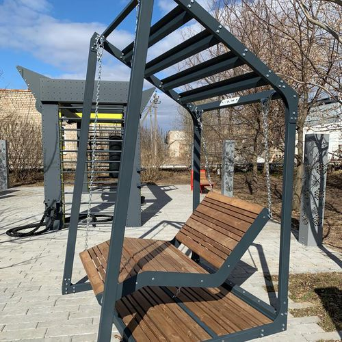 public bench / contemporary / galvanized steel / oiled wood