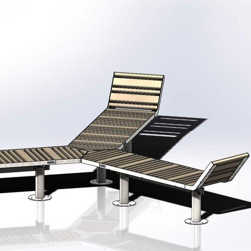 public bench / original design / powder-coated steel / pine