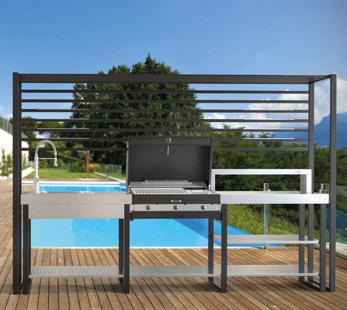 contemporary kitchen / steel / modular / outdoor