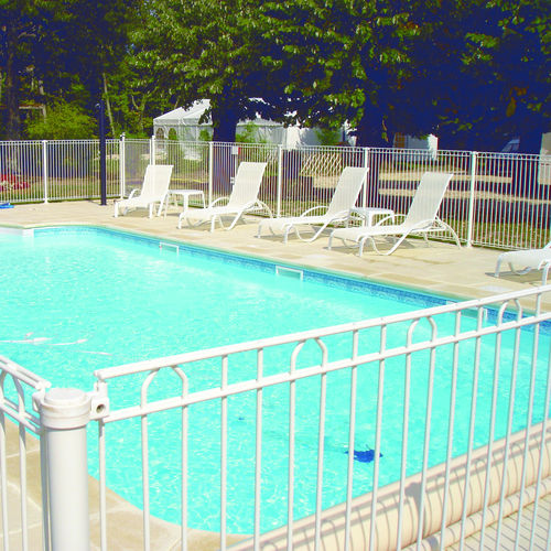 protective barrier / fixed / galvanized steel / pool