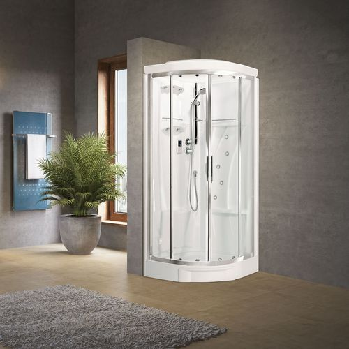 multi-function shower cubicle / glass / corner / with sliding door