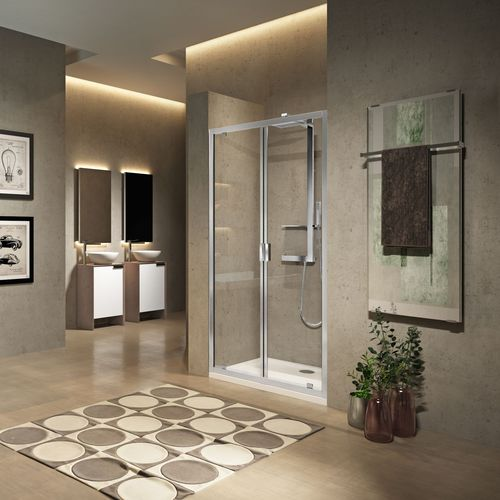 swing shower screen / for alcoves / glass