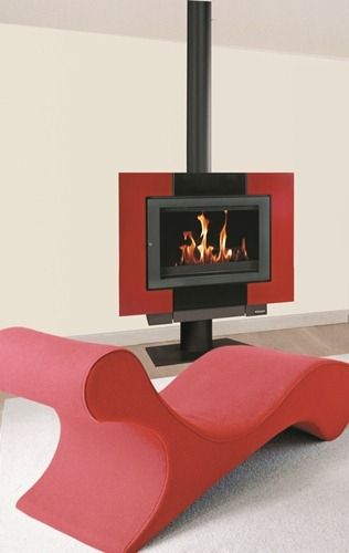 wood heating stove / contemporary / metal / rotating