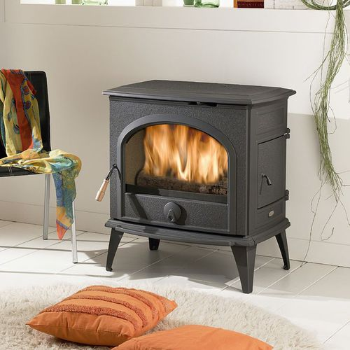 wood heating stove / contemporary / cast iron / glass