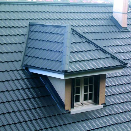 sheet steel roofing / insulating / roof tile look