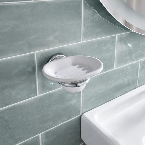 wall-mounted soap dish / metal / ceramic