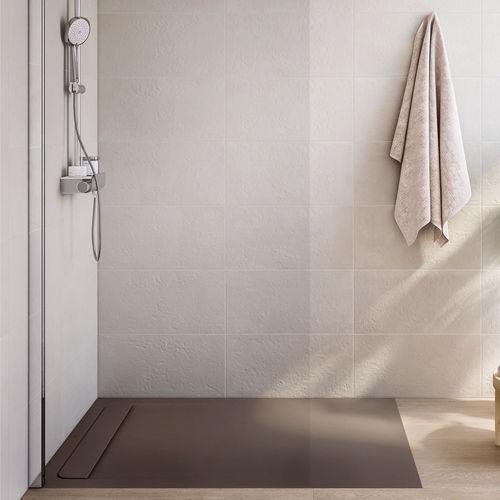 rectangular shower base / stone / stainless steel / extra-flat
