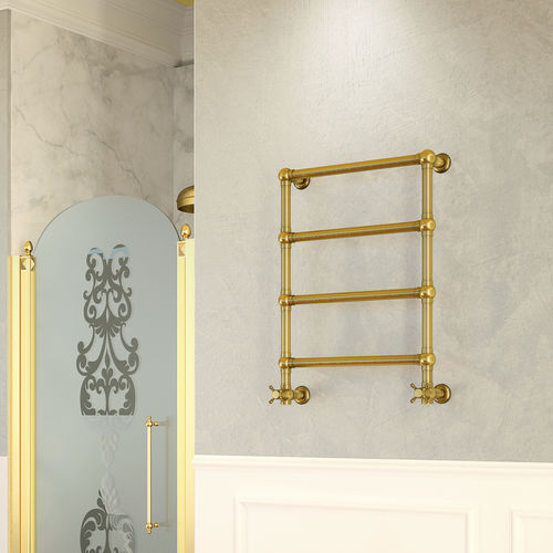 hot water towel radiator / electric / brass / chrome