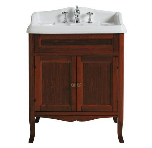 free-standing washbasin cabinet / walnut / traditional / with drawers
