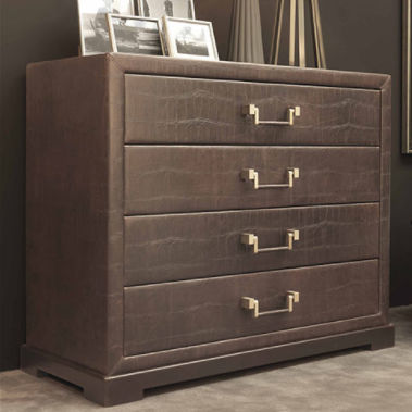 contemporary chest of drawers / leather / upholstered / brown