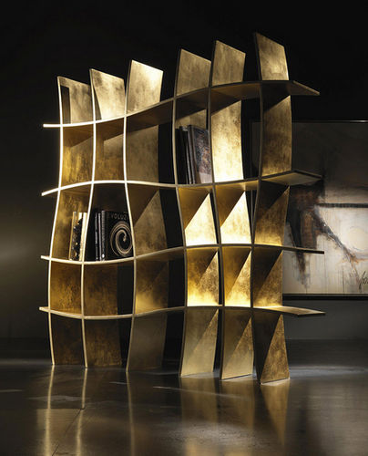 original design bookcase / lacquered wood / wood with gold leaf finish