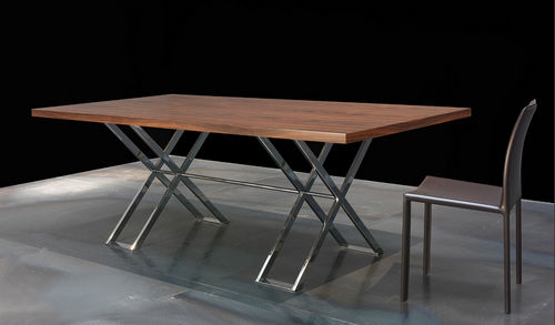 contemporary dining table / wooden / chromed metal / rectangular