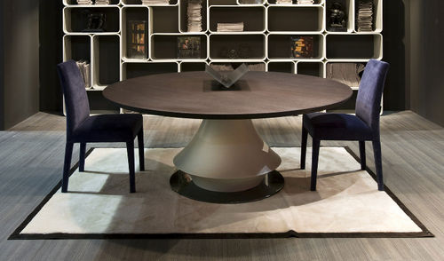 contemporary table / oak / round