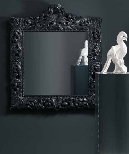 wall-mounted mirror / New Baroque design / square / resin