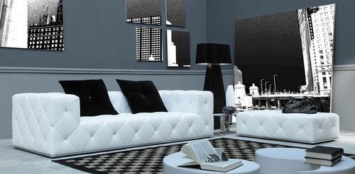 contemporary sofa / leather / 2-person / white