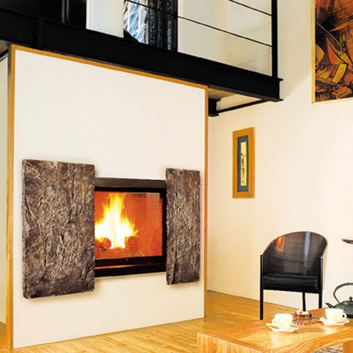 Wood-burning fireplace / original design / closed hearth / double-sided METAFOCUS 9 Focus