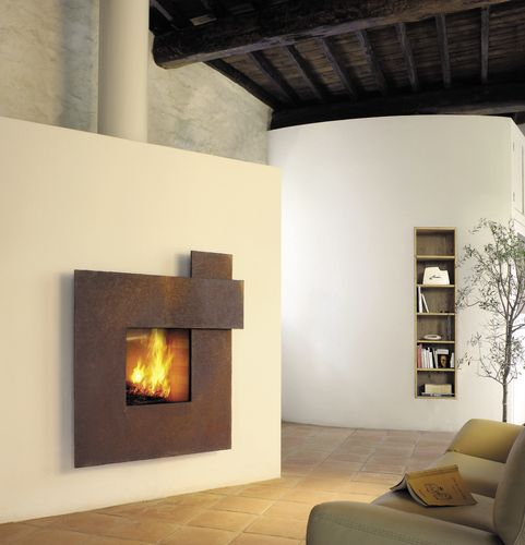 wood-burning fireplace / contemporary / original design / closed hearth