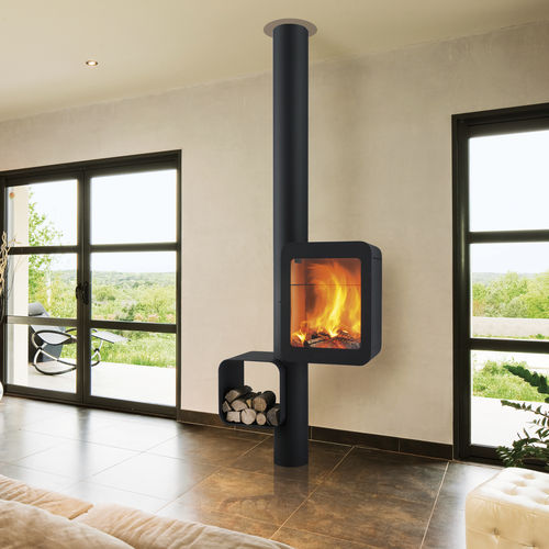 wood heating stove / gas / contemporary / steel