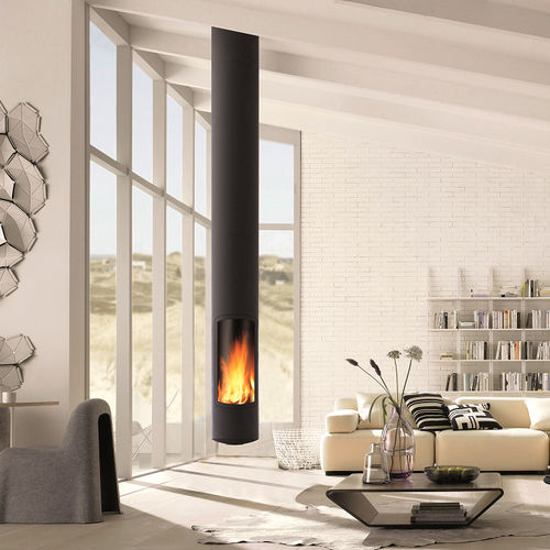 Wood-burning fireplace / contemporary / closed hearth / central SLIMFOCUS SUSPENDU Focus