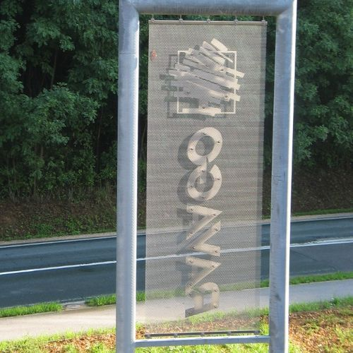 floor-mounted signboard / stainless steel / outdoor