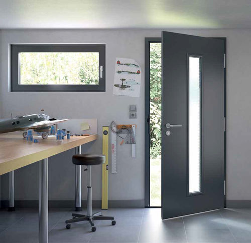 entry door / swing / galvanized steel / acoustic