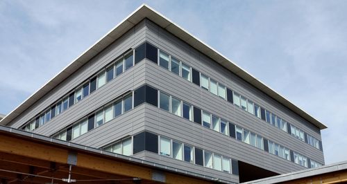 metal cladding / zinc / grooved / panel