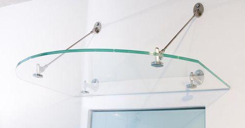 window canopy / for door / glass / metal