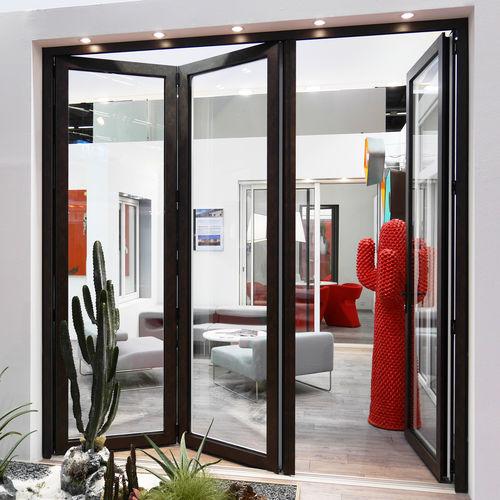 indoor door / folding / aluminum / thermal break