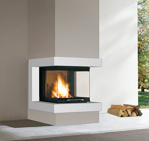 contemporary fireplace surround / steel / 3-sided