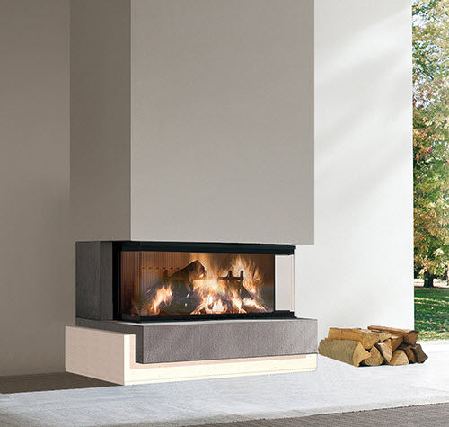 contemporary fireplace surround / marble / 3-sided