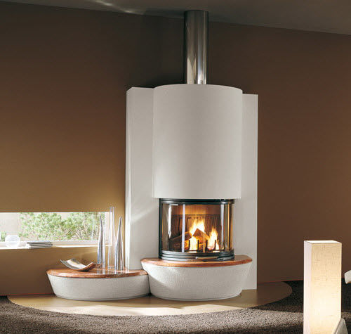 contemporary fireplace surround / stone