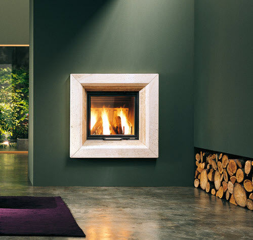 contemporary fireplace surround / travertine
