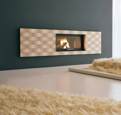 contemporary fireplace surround / marble / steel