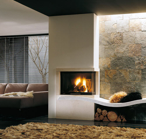 contemporary fireplace surround / marble / corner