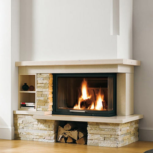 contemporary fireplace surround / marble / limestone / corner